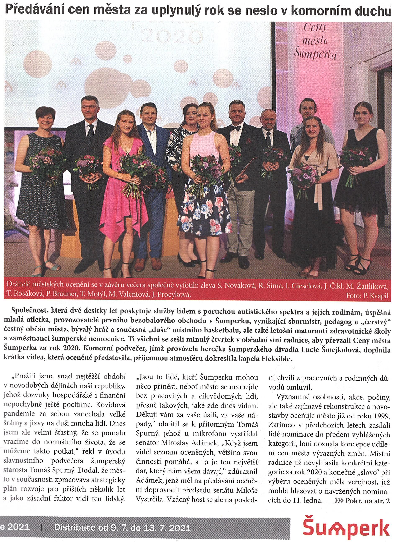 Dětský klíč je držitelem Ceny města Šumperka za rok 2020